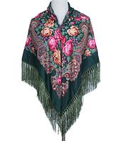 Народный платок Мария, 110х110 см, зеленый, фото 1