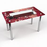 Стол обеденный на хромированных ножках Прямоугольный с полкой Fiori rossi