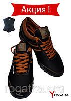 Подростковые кожаные кроссовки SPLINTER, черные с рыжими вставками