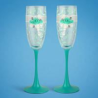 Свадебные бокалы, ручная работа, мятный цвет, 2 шт (арт. TL-1566), фото 1