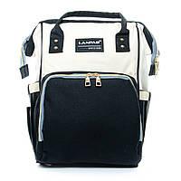 Сумка-Рюкзак органайзер для мамы нейлон Lanpad D900 black white