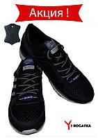 Мужские комбинированные кроссовки SPLINTER кожа, сетка, нубук,черные, сбоку серые полоски