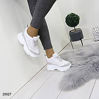 Женские белые кроссовки, эко-кожа+сетка-текстиль+замша