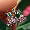 Сережки Вишеньки срібло - Срібні сережки Вишні для дівчинки, фото 6