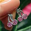 Сережки Вишеньки срібло - Срібні сережки Вишні для дівчинки, фото 5