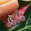 Сережки Вишеньки срібло - Срібні сережки Вишні для дівчинки, фото 3