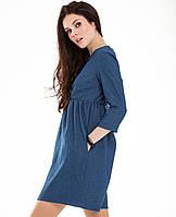 Платье женское коктельное Джинс - Коттон в цветах. Оптом