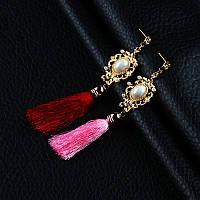 Женские серьги-кисти  розовые и бордо