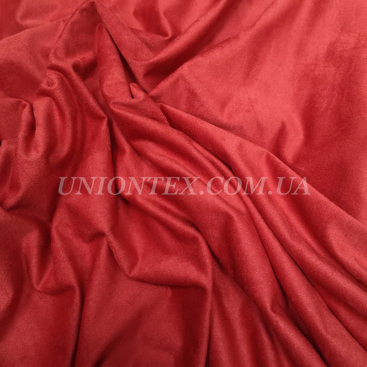 Ткань замша стрейч красная