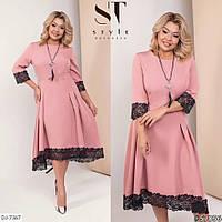 Нарядна сукня з костюмної тканини з кружевом, фото 1