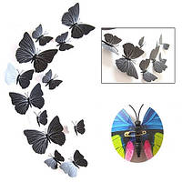 (12 шт) Набор бабочек 3D на булавках ЧЕРНЫЕ