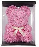 Мишка из 3D роз в подарочной упаковке с белой лентой Розовый 25 см., фото 3