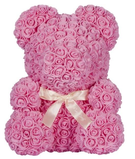 Мишка из 3D роз в подарочной упаковке с белой лентой Розовый 25 см.