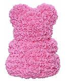 Мишка из 3D роз в подарочной упаковке с белой лентой Розовый 25 см., фото 2