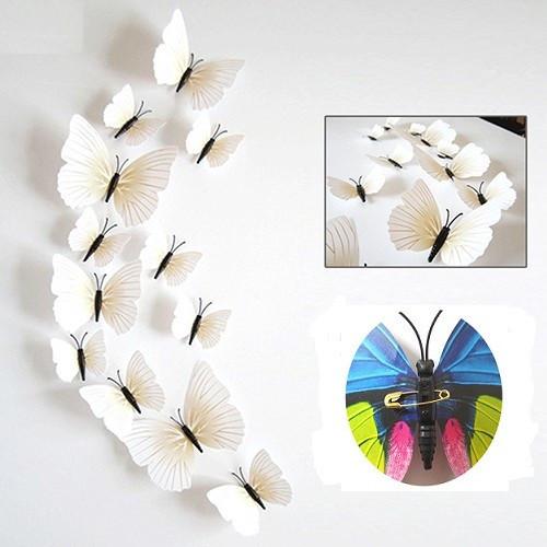 (12 шт) Набор бабочек 3D на булавках КРЕМОВЫЕ