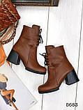Женские демисезонные кориченые ботинки на устойчивом каблуке, натуральная кожа, фото 2