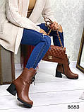 Женские демисезонные кориченые ботинки на устойчивом каблуке, натуральная кожа, фото 3