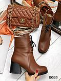 Женские демисезонные кориченые ботинки на устойчивом каблуке, натуральная кожа, фото 4
