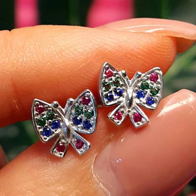 Срібні сережки пуссети Метелик - Дитячі сережки Метелики срібло