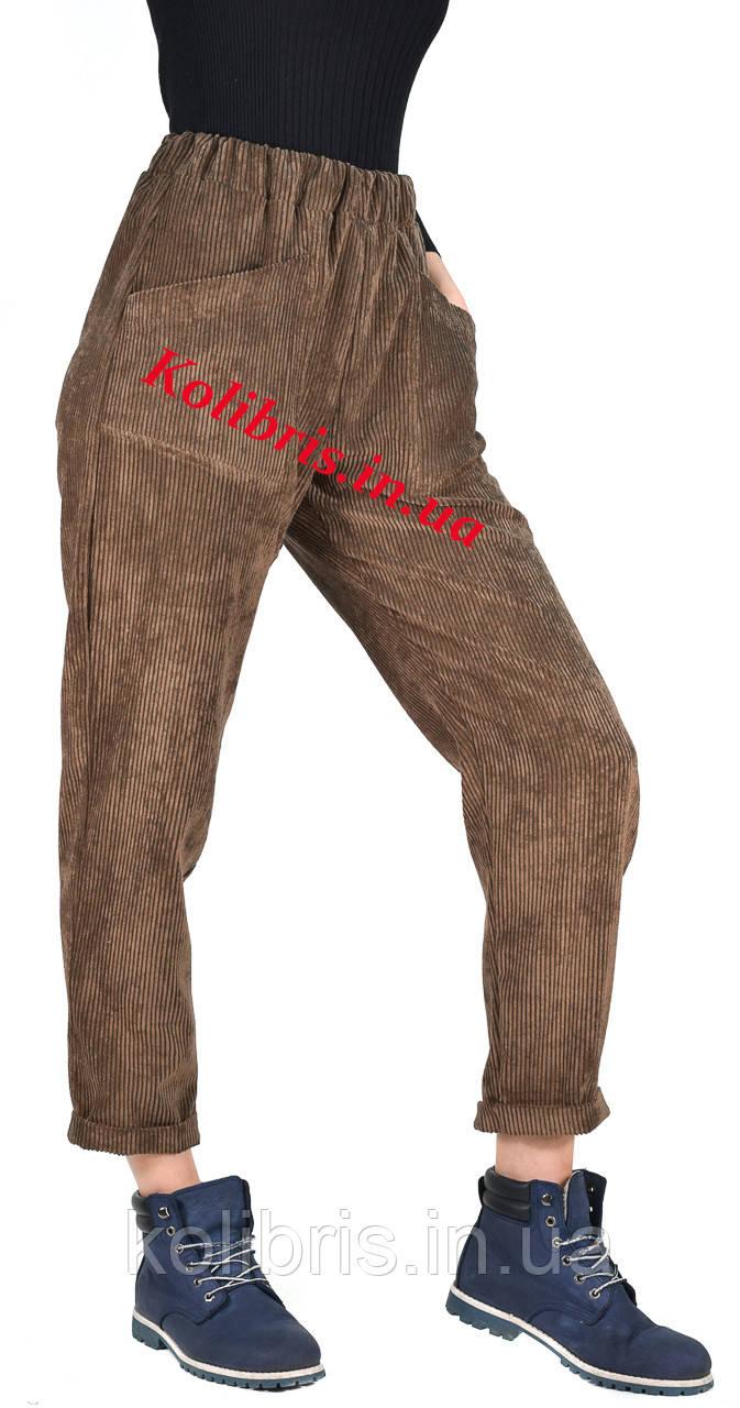 Вельветовые Молодежные штанишки момы цвета какао