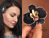 """Заколка цветок  """"Черная орхидея с круглыми лепестками"""", фото 1"""