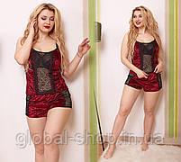 Пижамка женская,комплект шортики и маечка,ткань мраморный велюр,размеры 50-52 54-56, код 0606/1, фото 3