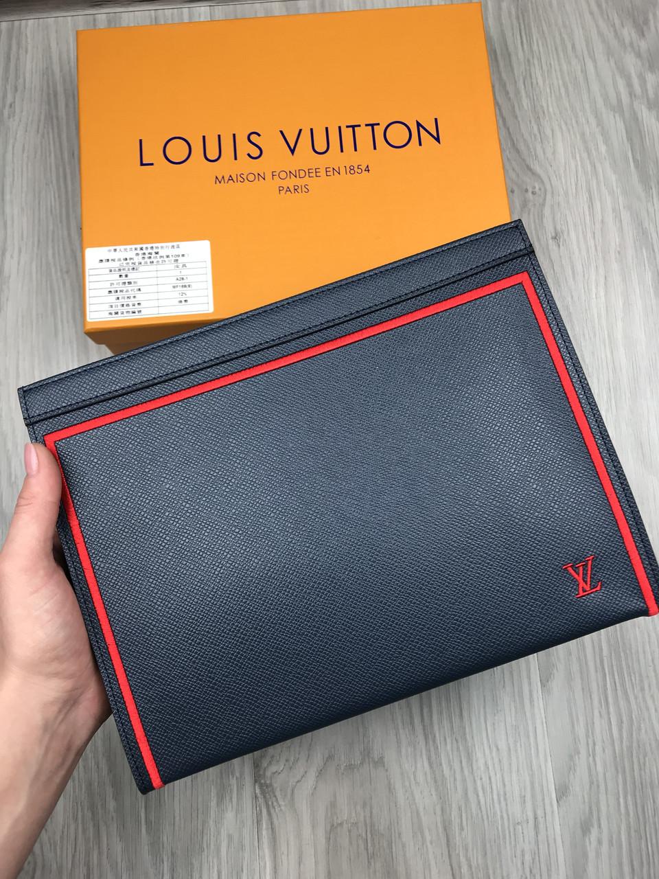 Кожаный мужской кошелек на молнии Louis Vuitton серый Премиум натуральная кожа Стильный клатч Луи Виттон копия