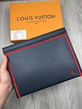 Кожаный мужской кошелек на молнии Louis Vuitton серый Премиум натуральная кожа Стильный клатч Луи Виттон копия, фото 2