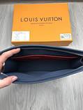 Кожаный мужской кошелек на молнии Louis Vuitton серый Премиум натуральная кожа Стильный клатч Луи Виттон копия, фото 6