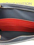Кожаный мужской кошелек на молнии Louis Vuitton серый Премиум натуральная кожа Стильный клатч Луи Виттон копия, фото 7