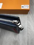 Кожаный мужской кошелек на молнии Louis Vuitton серый Премиум натуральная кожа Стильный клатч Луи Виттон копия, фото 8
