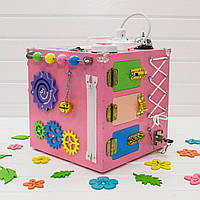 Бизикуб. Развивающие игрушки для детей. Розовый