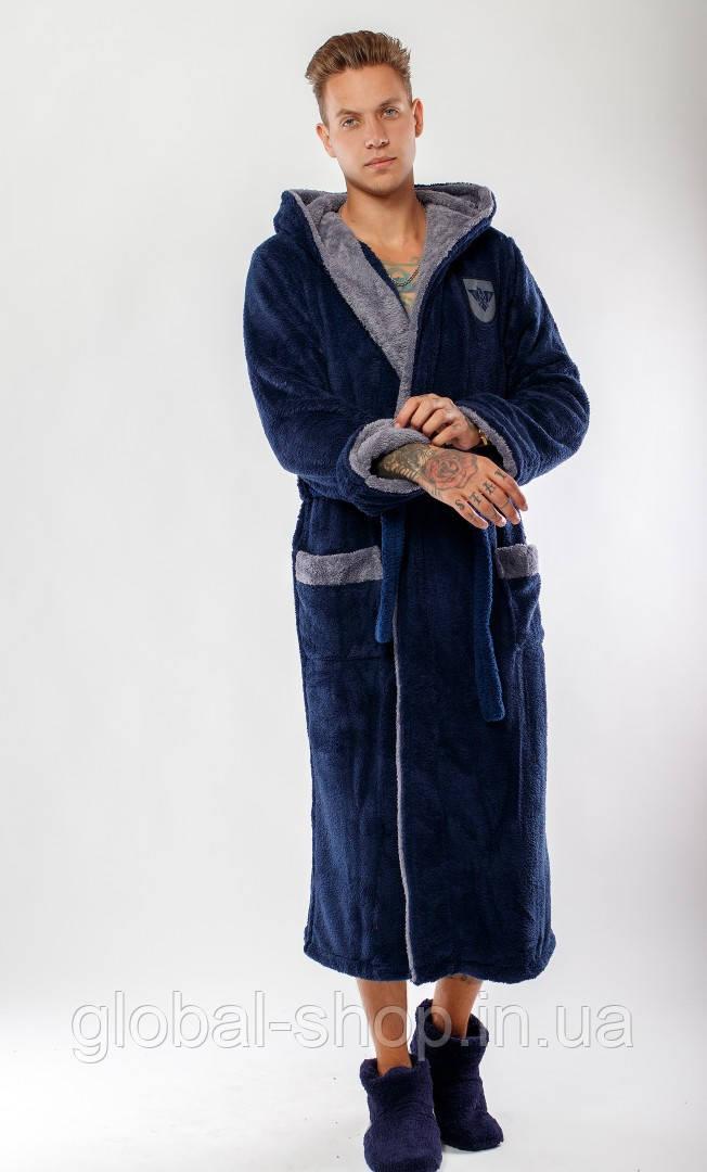 Мужской тёплый махровый длинный халат с двойным капюшоном, код:06 ,Размеры 48-50 ,50-52