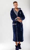 Мужской тёплый махровый длинный халат с двойным капюшоном, код:06 ,Размеры 48-50 ,50-52, фото 1