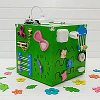 Бизикуб. Развивающие игрушки для детей. Зеленый