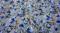 Нежная ткань летний креп серого цвета с цветочным принтом, фото 1