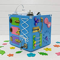 Бизикуб. Развивающие игрушки для детей. Голубой