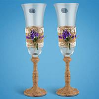 """Свадебные бокалы """"Рустик"""", ручная работа, фиолетовый цвет, 2 шт (арт. KC-04), фото 1"""