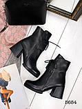 Женские демисезонные черные ботинки на устойчивом каблуке, натуральная кожа, фото 2