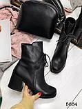 Женские демисезонные черные ботинки на устойчивом каблуке, натуральная кожа, фото 3