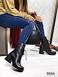 Женские демисезонные черные ботинки на устойчивом каблуке, натуральная кожа, фото 4