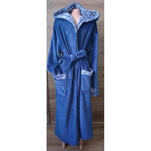 Длинный мужской халат темно-синего цвета под пояс 48-58 р