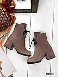 Жіночі демісезонні черевики капучіно на стійкому каблуці, натуральний замш, фото 3