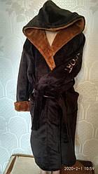 Теплый махровый детский, подростковый халат, на запах, под пояс, с капюшоном р. 6-14лет, коричневый, дитячій