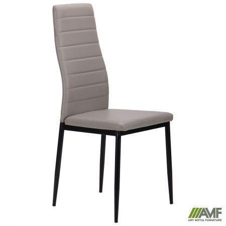 Мягкий стул AMF Сицилия черный каркас+кожзам серый