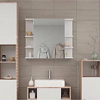 Полка навесная с зеркалом, шкафчик в ванную, влагостойкий ДСП, зеркало.