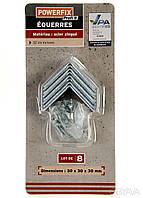 F1-00724, Куточок металевий кріпильний POWERFIX, набір 8 шт., 30 х 30 х 30 мм , металік