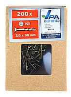 F1-00737, Саморезы по дереву POWERFIX, 200 шт, 3 х 30 мм, , золотой