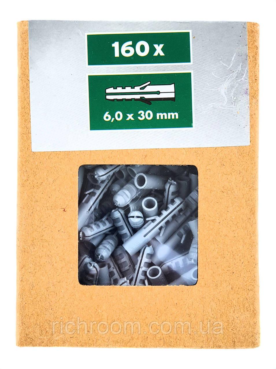 F1-00741, Дюбель универсальный POWERFIX набор (160 шт.), 6 х 30 мм, , серый