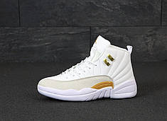 Мужские кроссовки Nike Air Jordan 12 Retro. White Gold. ТОП Реплика ААА класса.